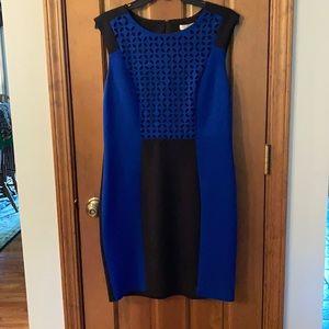 Knit fitted royal blue a black sheath dress.